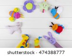 Top View With Soft Baby Toys O...