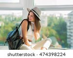 stylish boho woman with a... | Shutterstock . vector #474398224