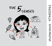 five senses educational concept | Shutterstock .eps vector #474402961