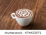 Hot Coffee With Top Decorated...