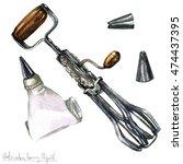 watercolor kitchenware clipart  ... | Shutterstock . vector #474437395