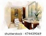 sketch perspective interior... | Shutterstock . vector #474439069