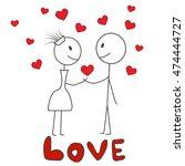 stick figure man and woman ... | Shutterstock .eps vector #474444727