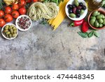 fresh ingredients for italian... | Shutterstock . vector #474448345