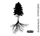 silhouette of a tree with roots....   Shutterstock .eps vector #474451801