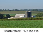 view of corn fields and farm... | Shutterstock . vector #474455545