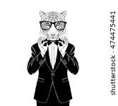 tiger dressed up in tuxedo...   Shutterstock .eps vector #474475441