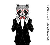 raccoon dressed up in tuxedo... | Shutterstock .eps vector #474475651