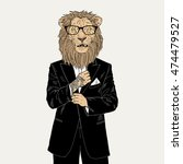 lion dressed up in tuxedo with... | Shutterstock .eps vector #474479527