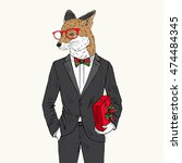 fox dressed up in tuxedo with... | Shutterstock .eps vector #474484345