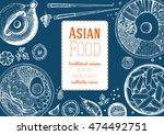 asian food frame. linear... | Shutterstock .eps vector #474492751