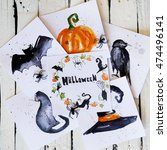 halloween decoration photo with ... | Shutterstock . vector #474496141