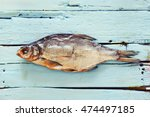 this is a  fish on the wood desk   Shutterstock . vector #474497185