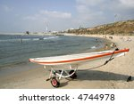 sailing boat on beach in tel... | Shutterstock . vector #4744978