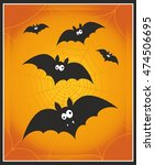 cute cartoon bats on a yellow... | Shutterstock .eps vector #474506695