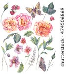 set vintage watercolor roses ... | Shutterstock . vector #474506869