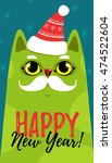 cute green cat with a christmas ... | Shutterstock .eps vector #474522604