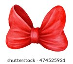 red gift bow. watercolor... | Shutterstock . vector #474525931