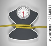 tape measure around the balance ... | Shutterstock . vector #474528559