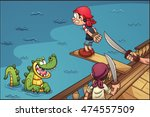 cartoon pirate kid walking the... | Shutterstock .eps vector #474557509