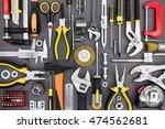 set of hand various work tools... | Shutterstock . vector #474562681