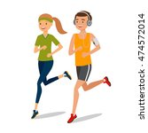 urban sports. couple running or ... | Shutterstock .eps vector #474572014