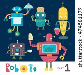 vector set of cartoon robots... | Shutterstock .eps vector #474581179
