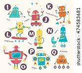 kids alphabet. vector robots in ... | Shutterstock .eps vector #474583681