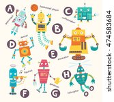 Kids Alphabet. Vector Robots I...