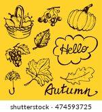 autumn hand drawn doodle set... | Shutterstock .eps vector #474593725