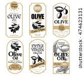 set of white olive oil labels... | Shutterstock .eps vector #474623131
