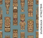 collection of wooden tiki idols.... | Shutterstock .eps vector #474627844