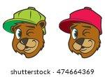 cool brown cartoon hip hop bear ... | Shutterstock .eps vector #474664369