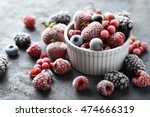frozen berries on a black... | Shutterstock . vector #474666319