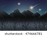 Meteor Shower Over Mountain At...