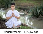 male asian buddhist meditation... | Shutterstock . vector #474667585