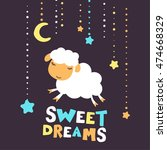 cute print of sheep and... | Shutterstock .eps vector #474668329
