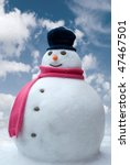 Happy Snowman Against A Bright...