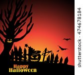 halloween scene with tree ... | Shutterstock .eps vector #474678184