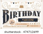birthday card template vector... | Shutterstock .eps vector #474712699