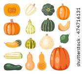 autumn collection of pumpkin... | Shutterstock .eps vector #474716131
