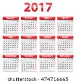 calendar for 2017 year in... | Shutterstock .eps vector #474716665