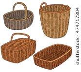 vector set of wicker basket | Shutterstock .eps vector #474717304