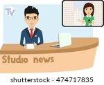 tv news presenter in the studio ...   Shutterstock .eps vector #474717835