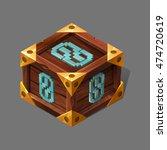 cartoon wooden isometric box...