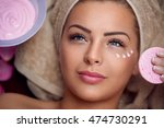 pretty young woman with facial ... | Shutterstock . vector #474730291