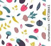 colorful farm vegetables... | Shutterstock .eps vector #474738661