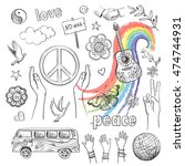 drawn icons peace and love  ... | Shutterstock .eps vector #474744931