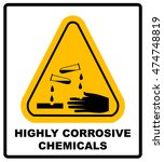highly corrosive chemicals sign ... | Shutterstock .eps vector #474748819