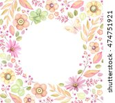 floral frame with circle window.... | Shutterstock .eps vector #474751921